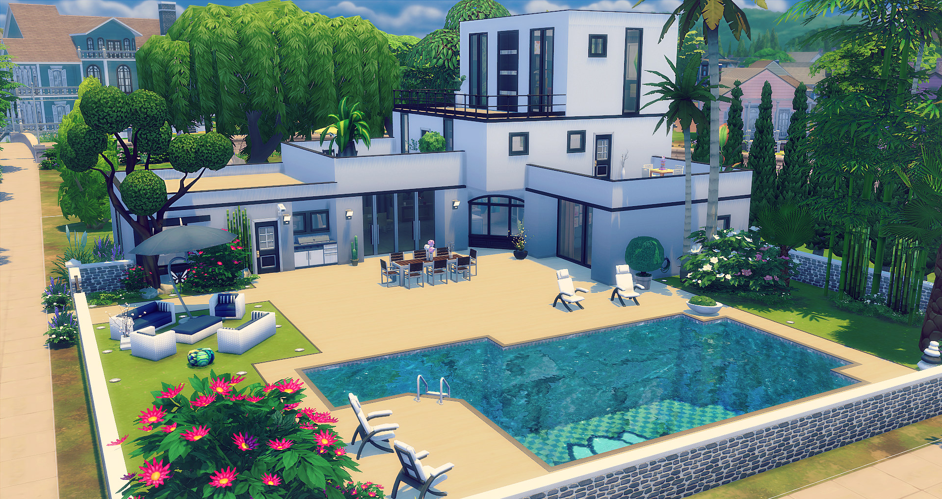 Pure studiosims creation for Sims 4 maison moderne
